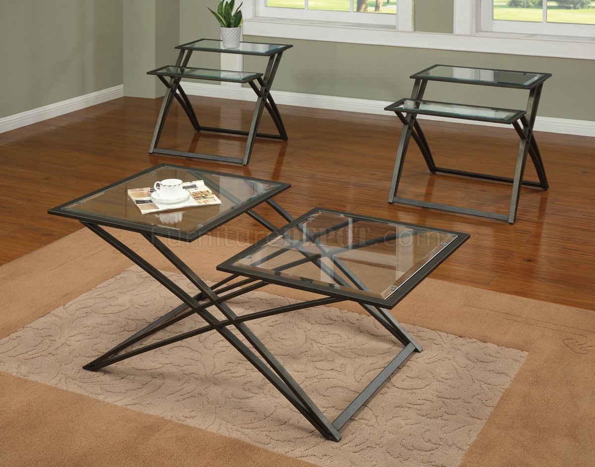 Glass top gold tone metal base modern 3pc coffee table set Metal and glass coffee table
