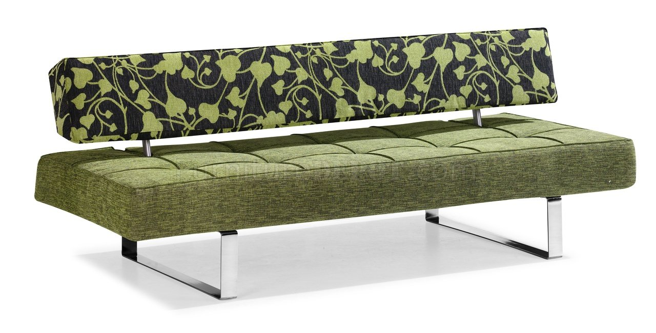 Modern Convertible Sofa Bed In Olive Microfiber With