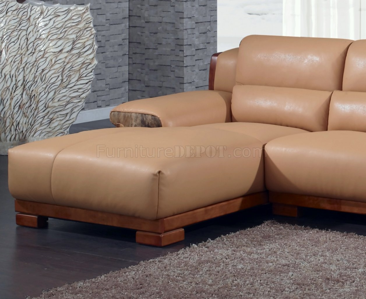 Camel Leatherette Modern Sectional Sofa W Block Wooden Legs