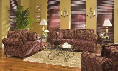 Rust Colored Fabric Contemporary Living Room W Contrasting