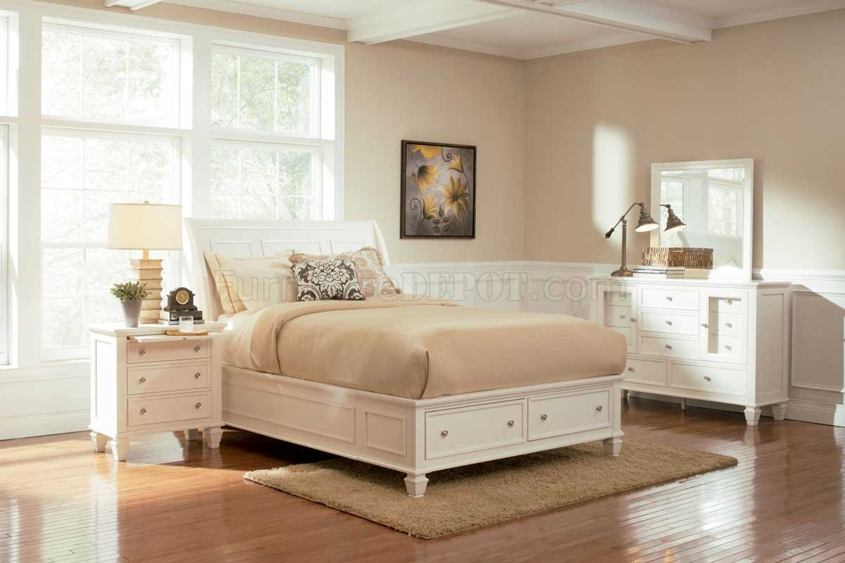 Sandy Beach 201309 5pc White Bedroom Set W Storage Bed Options