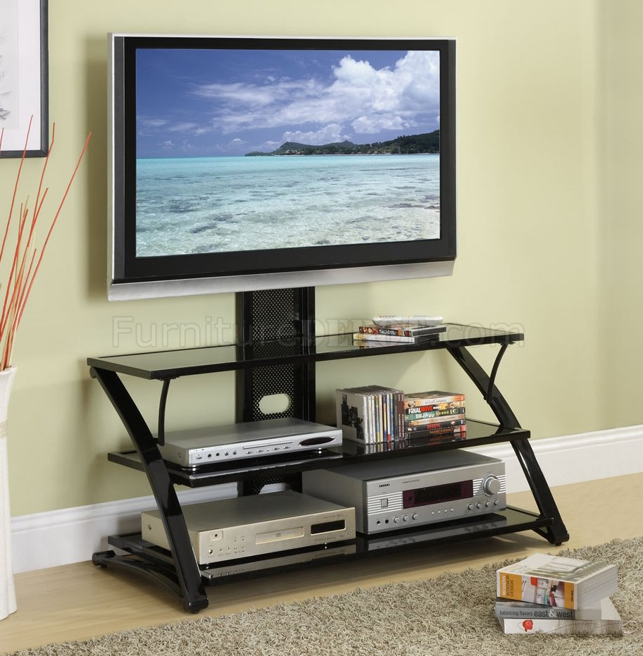black finish modern 3 shelf tv stand. Black Bedroom Furniture Sets. Home Design Ideas