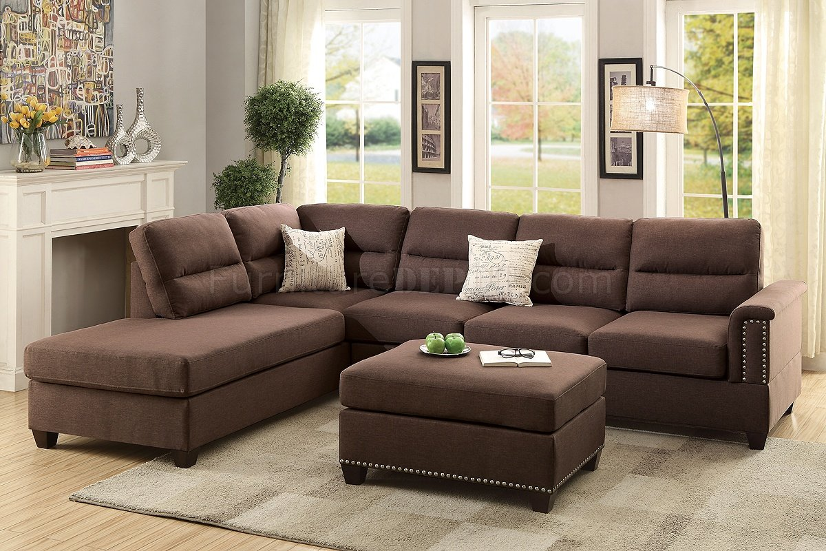 F7613 sectional sofa 3pc in chocolate fabric by boss for Bedroom furniture 98188