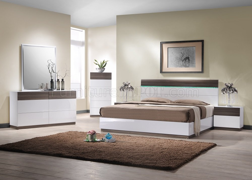 Sanremo B Bedroom in White & Walnut by J&M w/Optional Casegoods