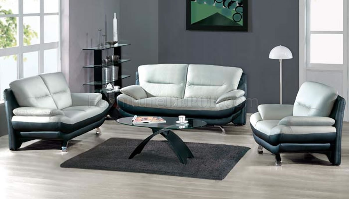 two toned grey black leather 7068 contemporary living room