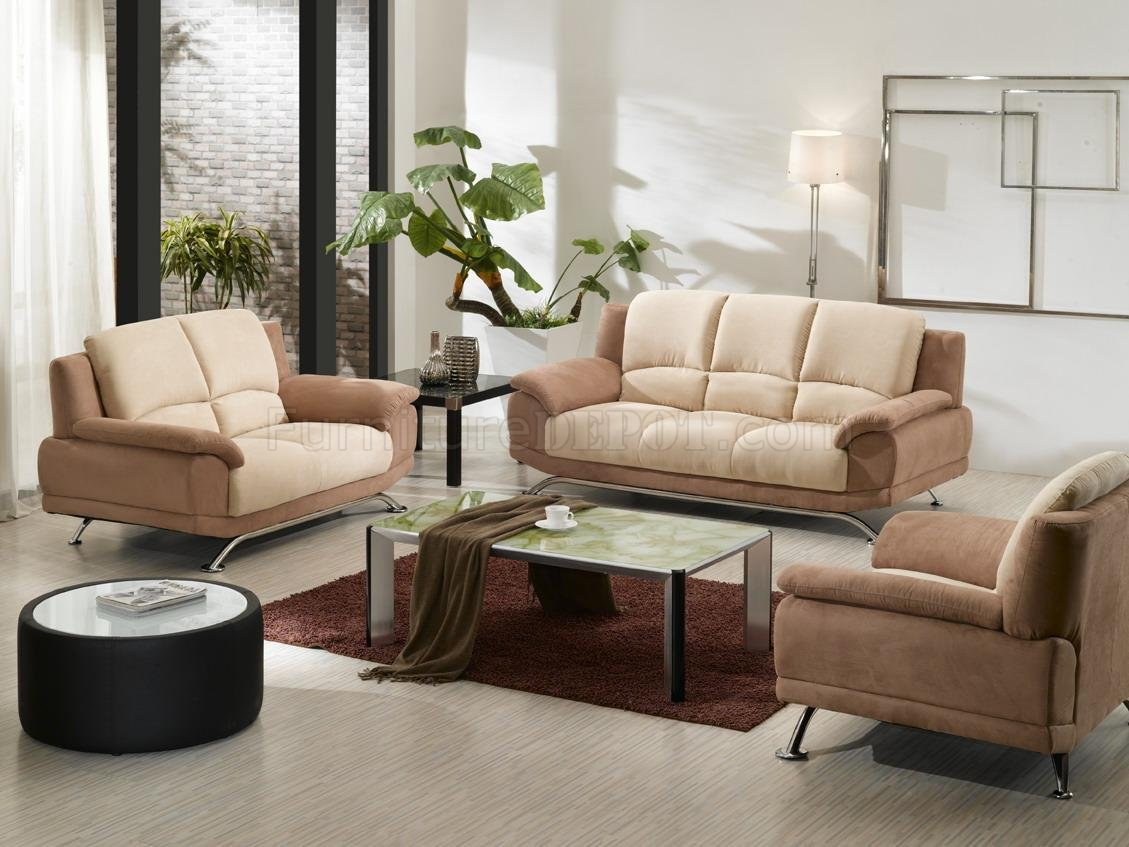 Beige Amp Cream Two Tone Microfiber 3pc Modern Living Room Set