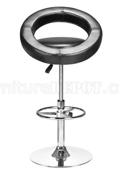 Black White Or Orange Leatherette Bar Stool With Metal Frame