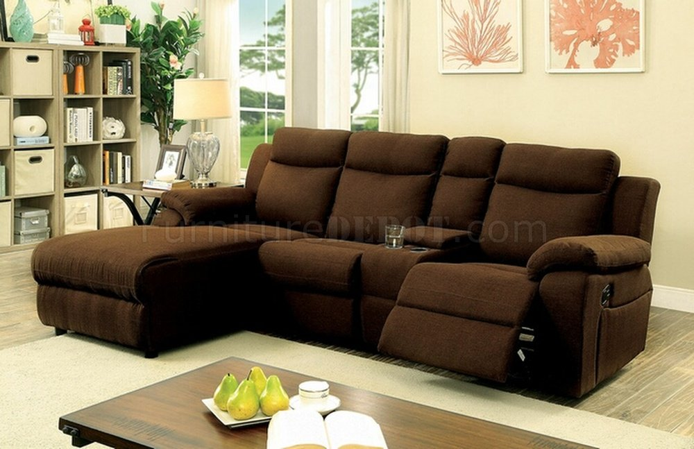 Kamryn Reclining Sectional Sofa Cm6771br In Brown Fabric