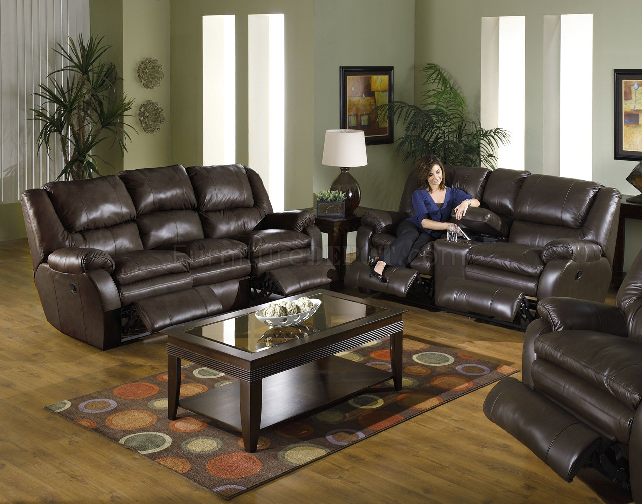 & Catnapper Coffee Top Grain Leather Allegro Reclining Sofa Set islam-shia.org