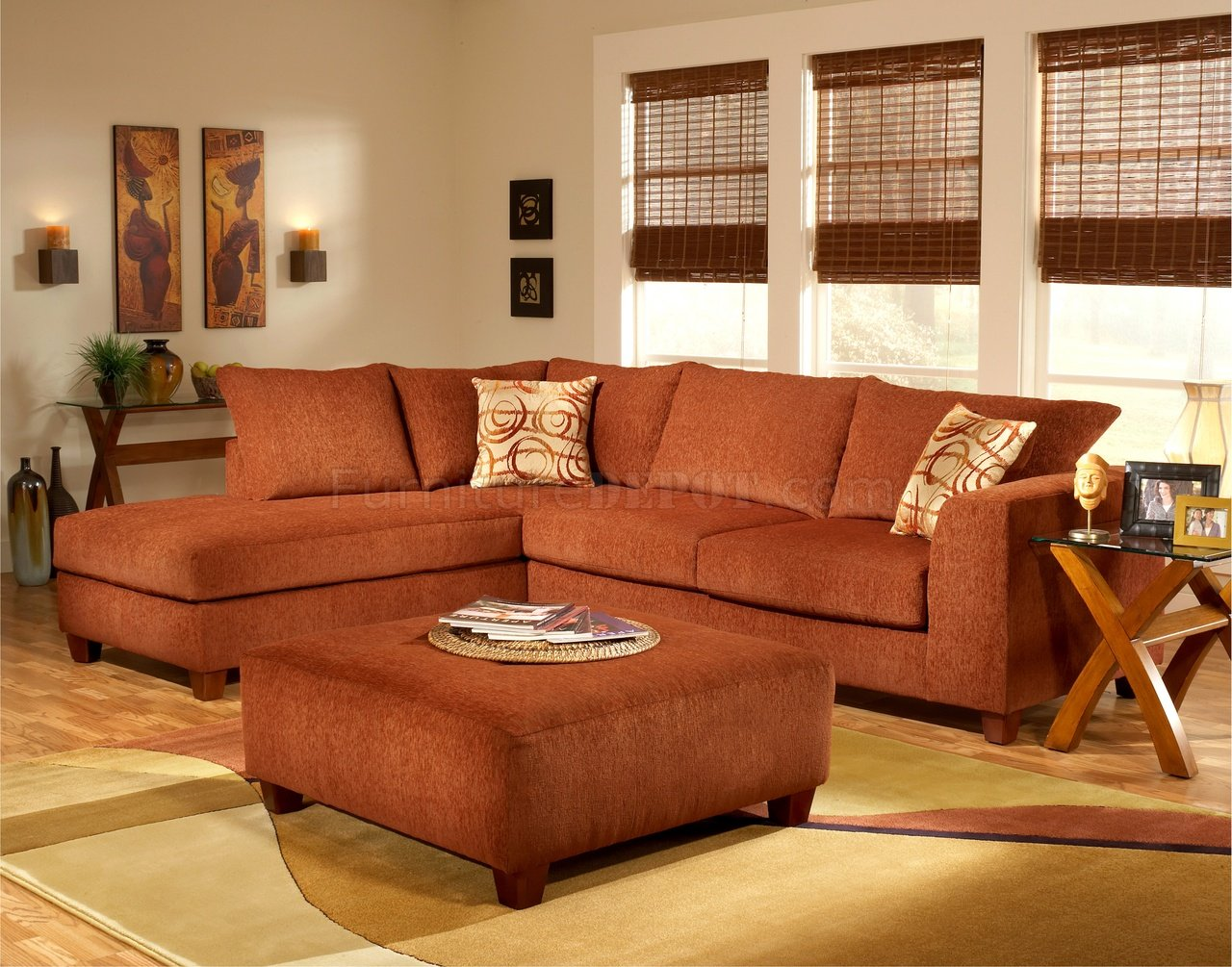 Terracotta fabric modern sectional sofa w optional ottoman for Ecksofa couch