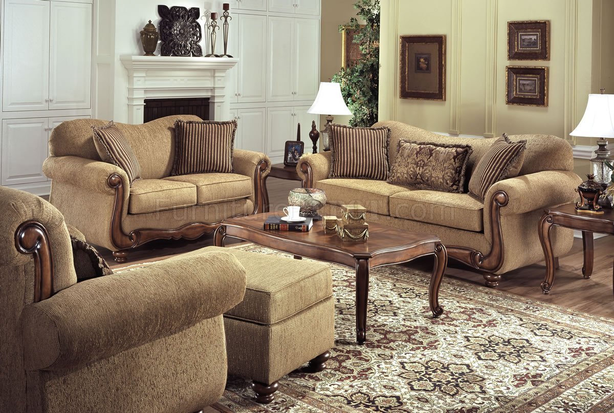 Throw Pillows For A Tan Couch : Tan Fabric Traditional Sofa & Loveseat Set w/Throw Pillows