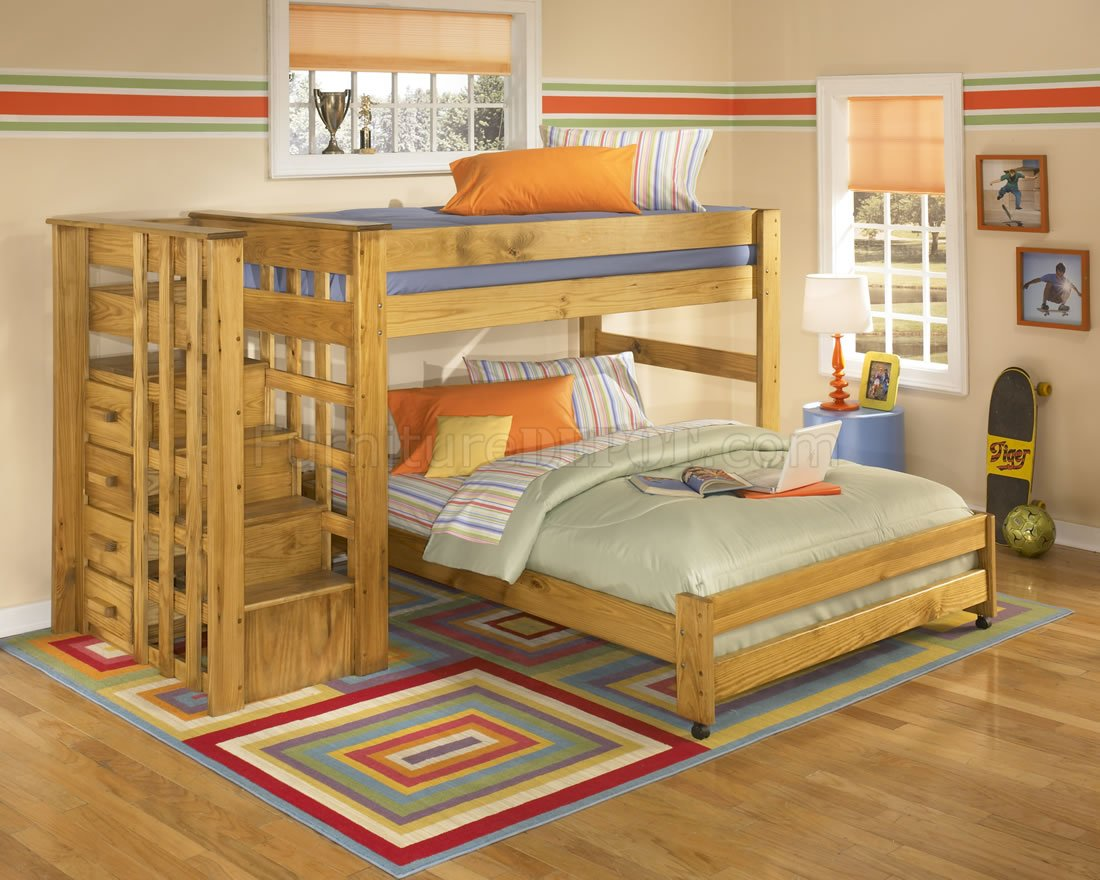 Solid Pine Contemporary Kids Bunk Bed w/Storage Stair Case