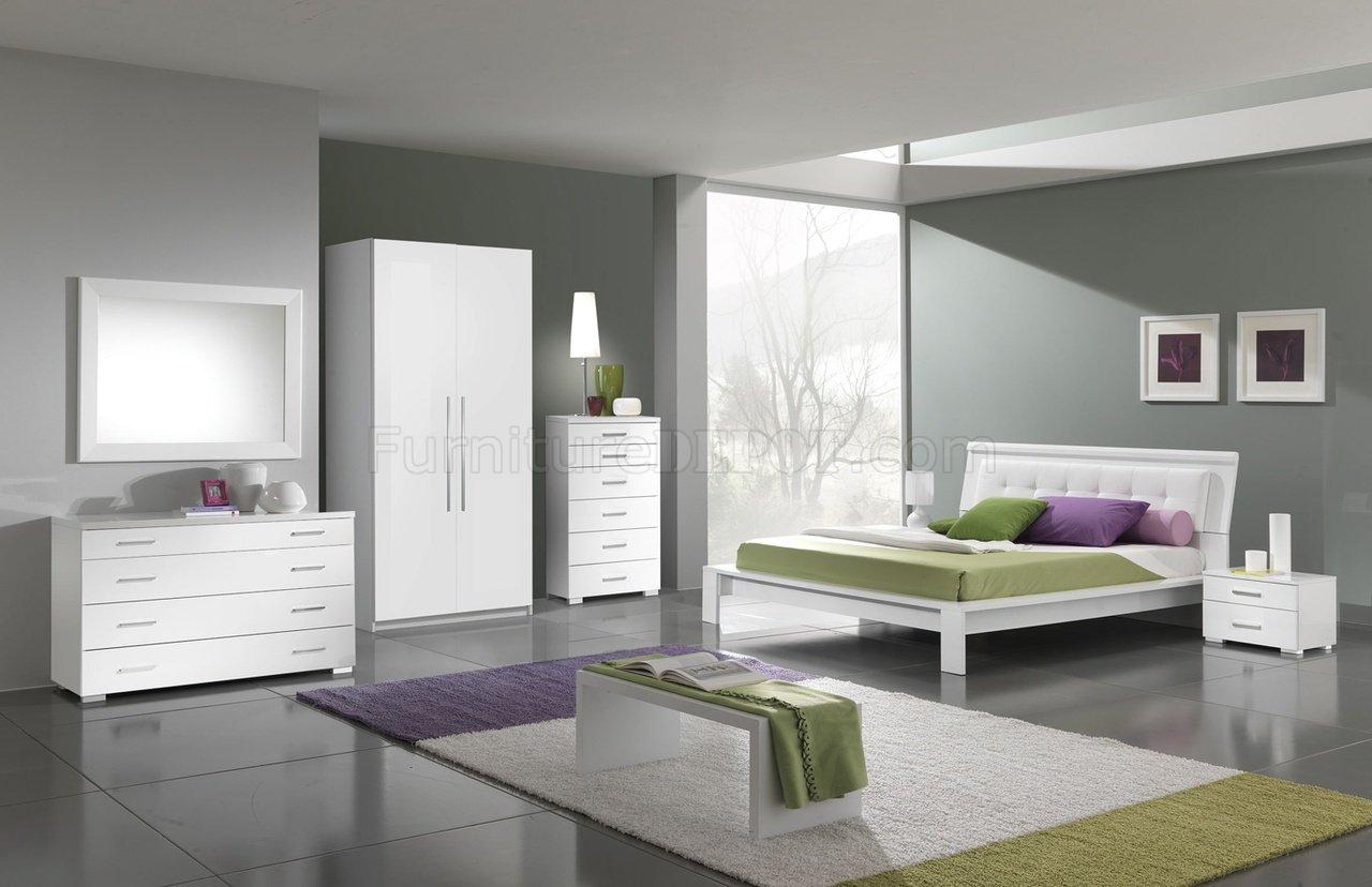 white finish modern bedroom w leatherette headboard options efbs
