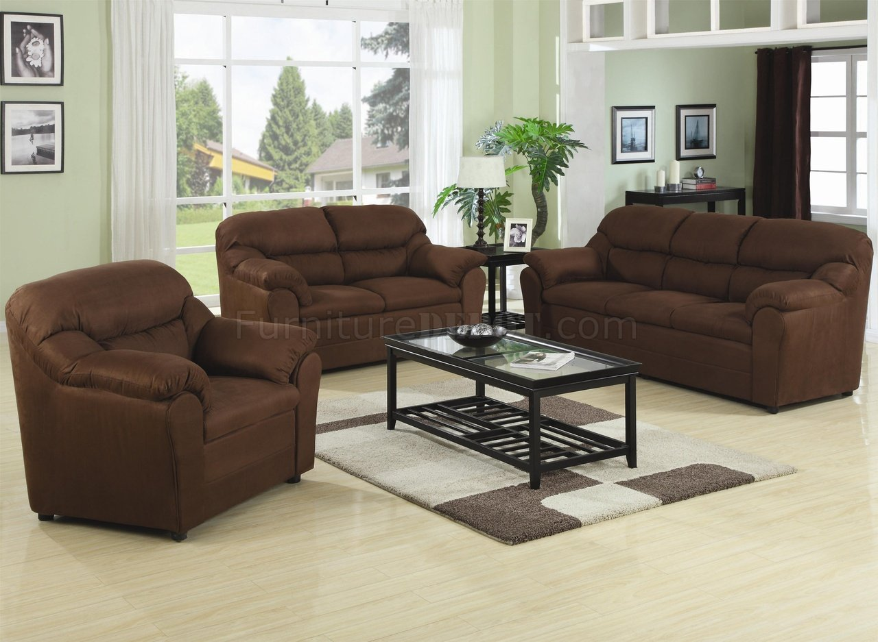Brown Fabric Modern 3pc Sofa Set W Pillow Padded Arms