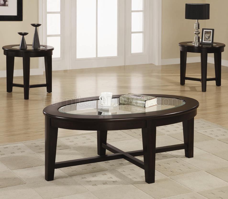 Dark Cuccino Finish Modern 3pc Coffee Table Set W Gl Tops