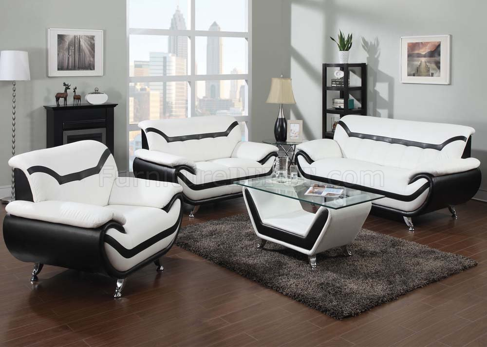 Contemporary Bedroom Set London Black By Acme Furniture: 51155 Rozene Sofa In White & Black Bonded Leather By Acme