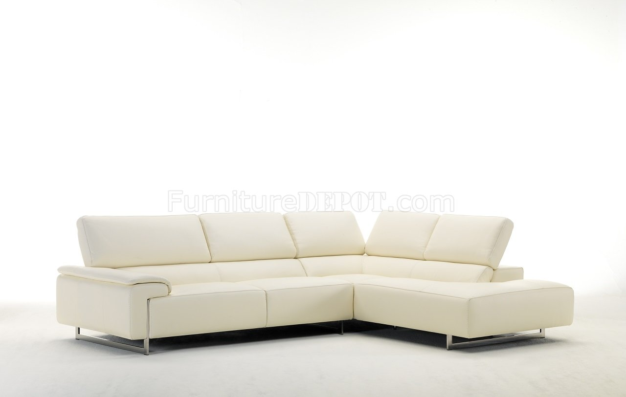 Ming 8009 Sectional Sofa In Off White Genuine Italian Leather