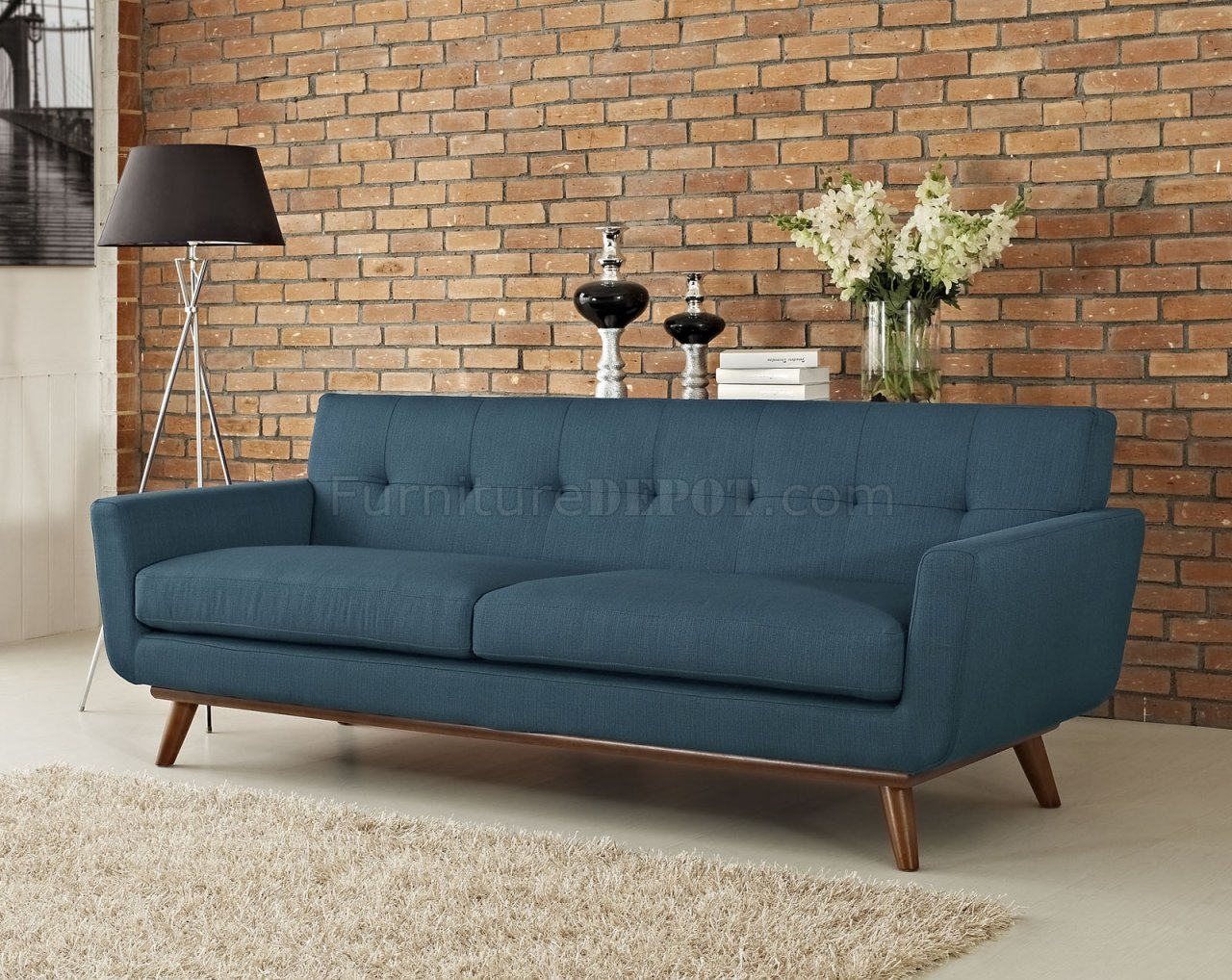 engage sofa in azure fabric by modway w options