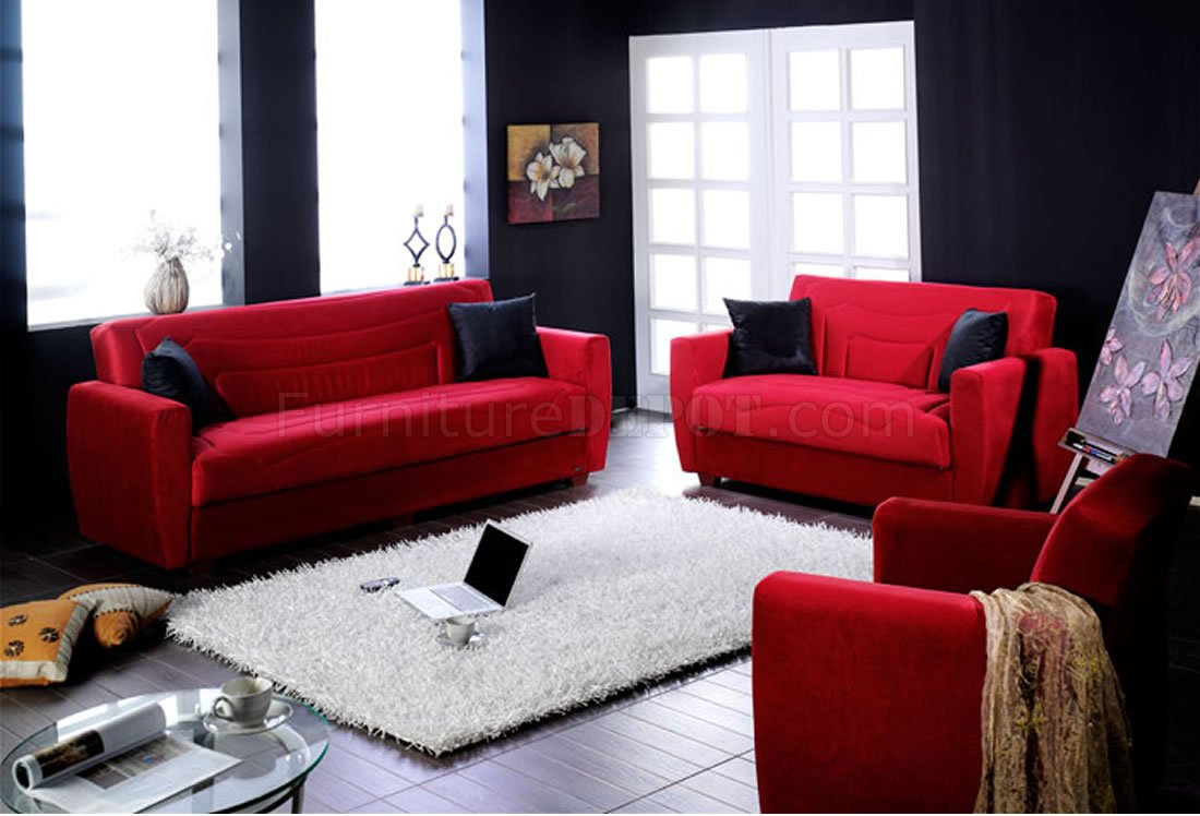 Elegant Red Microfiber Living Room With Storage Sleeper Sofa
