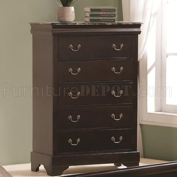 cappuccino finish 5pc bedroom set wqueen size bed