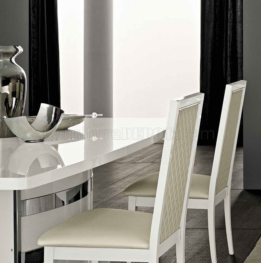 Roma Dining Table In White High Gloss By ESF W/Options