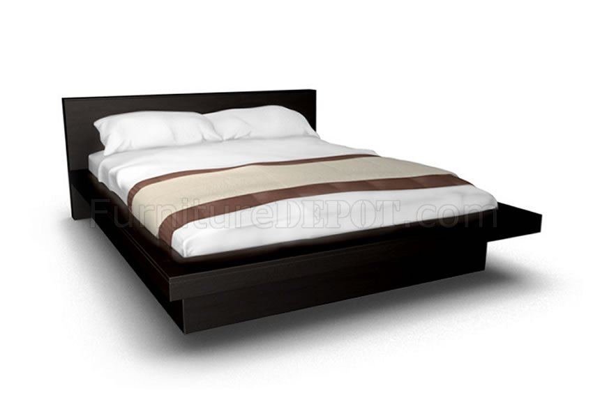 Cappuccino Finish Contemporary Platform Bed