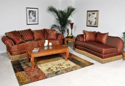 Contemporary Furniture Chaise on Chocolate Fabric Contemporary 2pc Sofa   Chaise Set At Furniture Depot