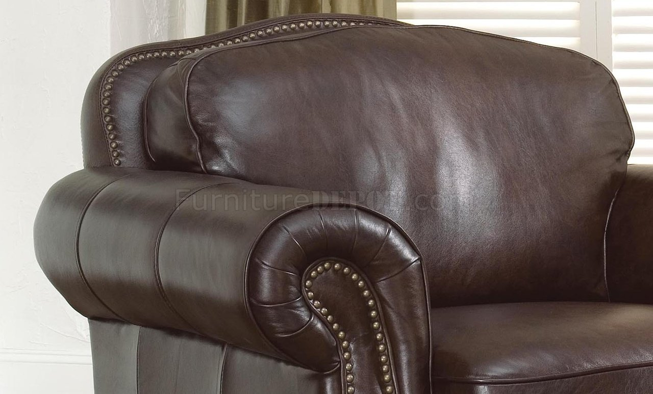 Dark Brown Leather Traditional Living Room W Nail Head Trim