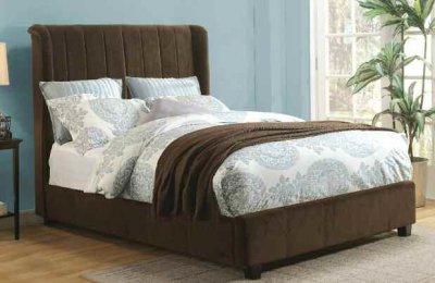 20770 Zachary Bed In Dark Brown Micro Velvet Fabric By Acme