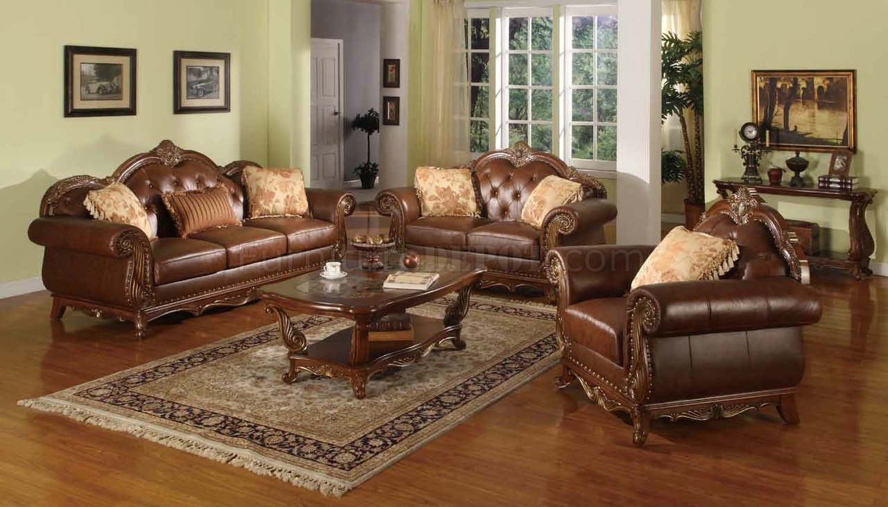 Becky Traditional Sofa in Leather & Fabric w/Optional Items