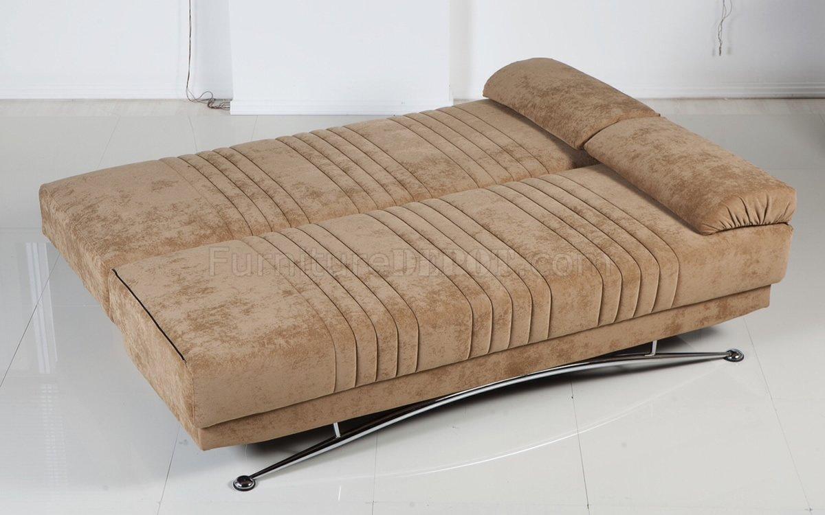 Soft Brown Microfiber Modern Convertible Sofa Bed W Storage