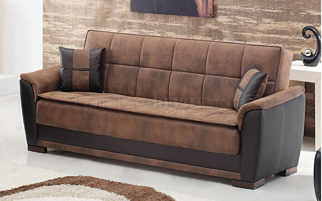 Two Tone Brown Treated Microfiber Modern Convertible Sofa Bed