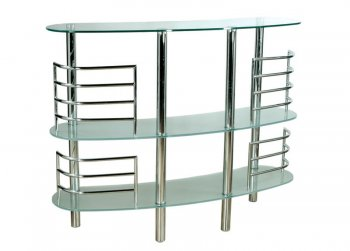 Half Moon Shape Bar Table With Glass Top [AHUBF 90982 Clear]