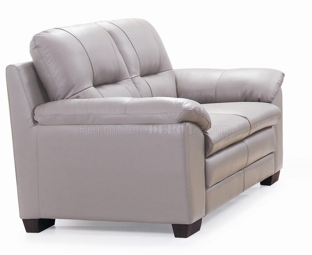 Emma 435003 sofa loveseat in light grey leather by new spec for Light gray leather sofa