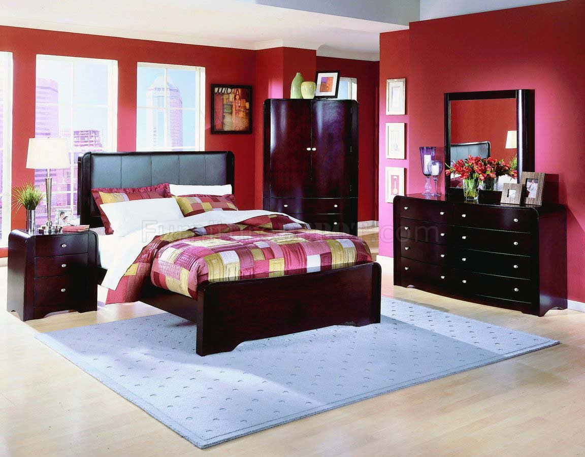 warm cherry finish 5pc modern bedroom set w leather headboard hebs 897