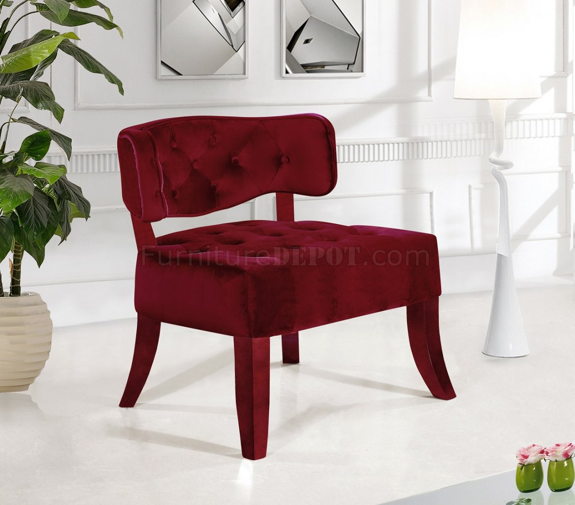 burgundy accent chairs living room accent chair 545 in burgundy velvet by meridian 19096