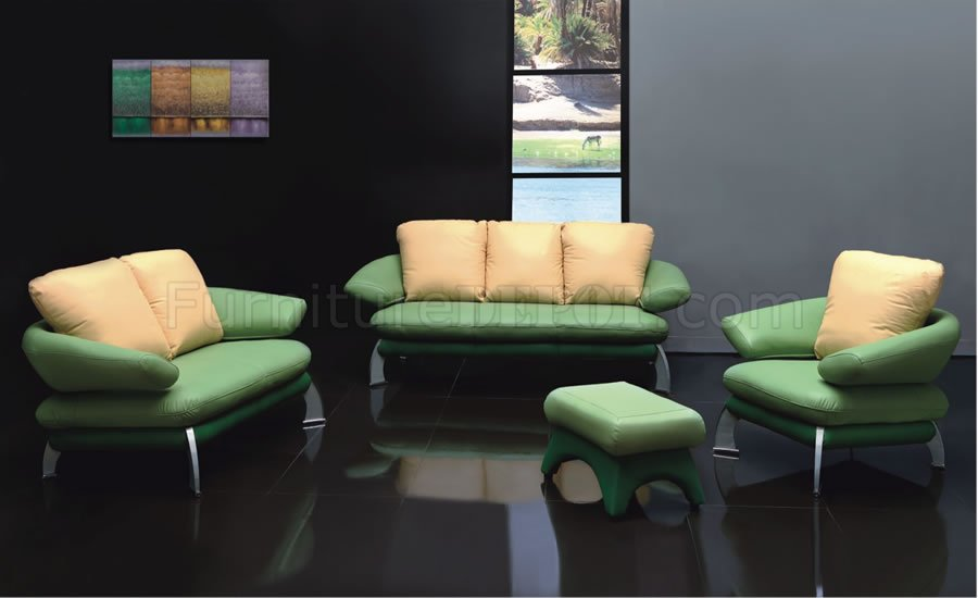 Modern two tone green and pale yellow leather living room set efs 13