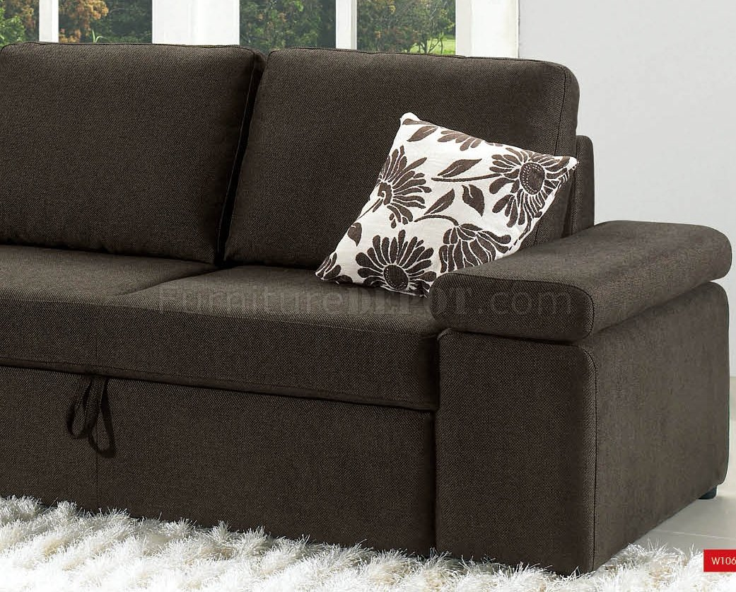 Charcoal Brown Fabric Modern Sectional Sofa W Pull Out Bed
