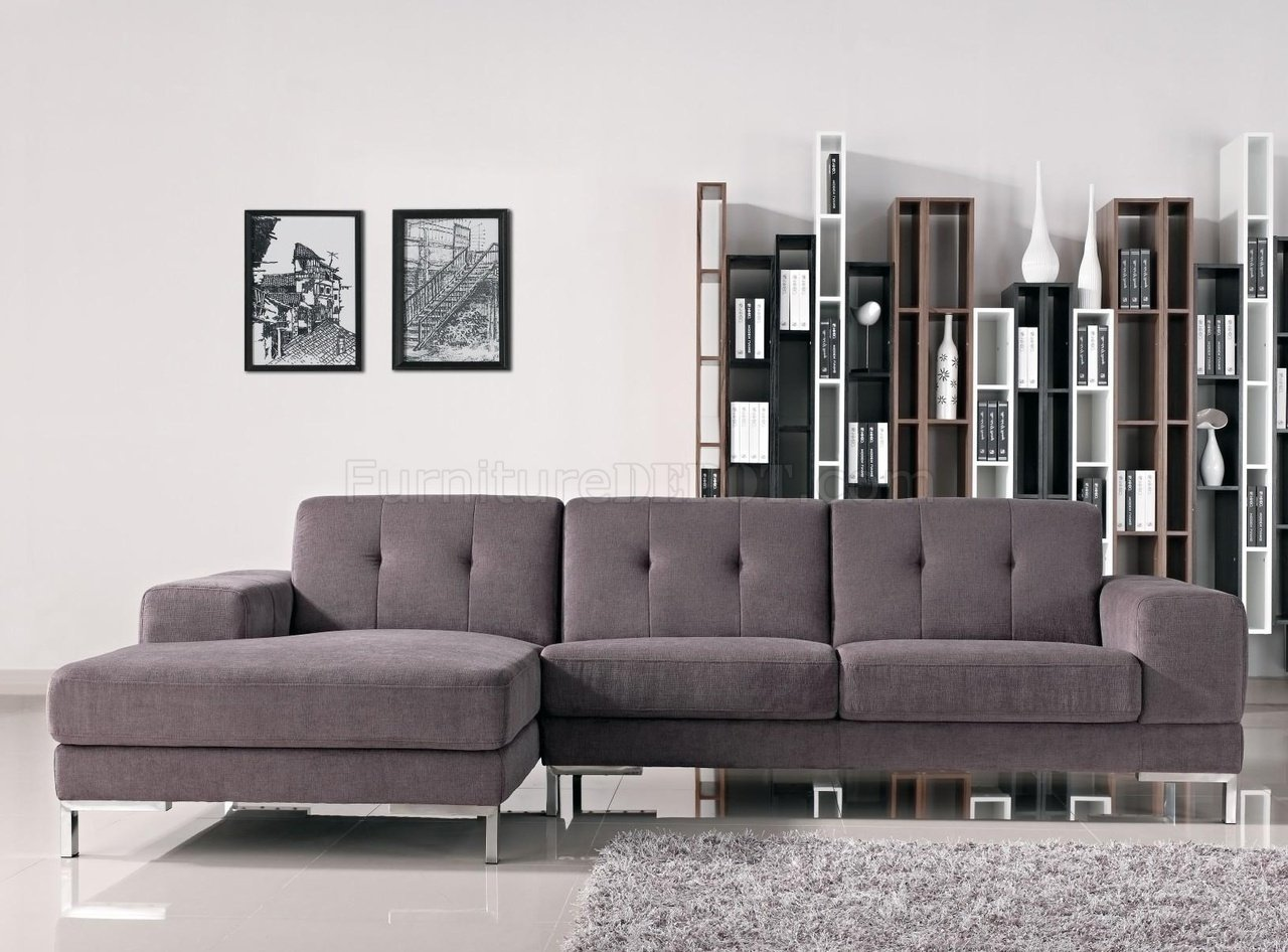 Forli Sectional Sofa In Grey Fabric 1071b By Vig W Metal Legs