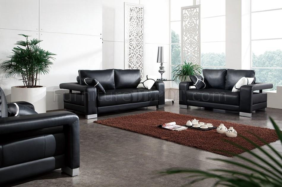 Black leather modern 3pc living room set w pillows for Leather living room sets