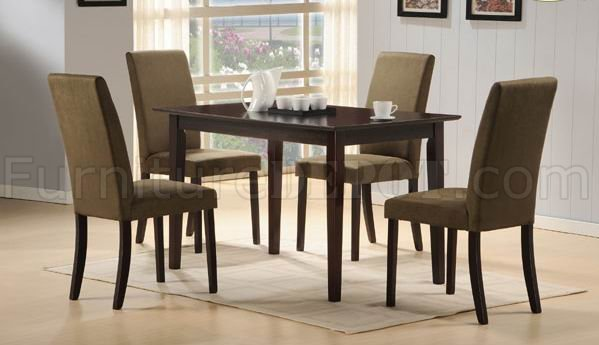 Cherry Finish Modern Dining Table W/Optional Microfiber Chairs
