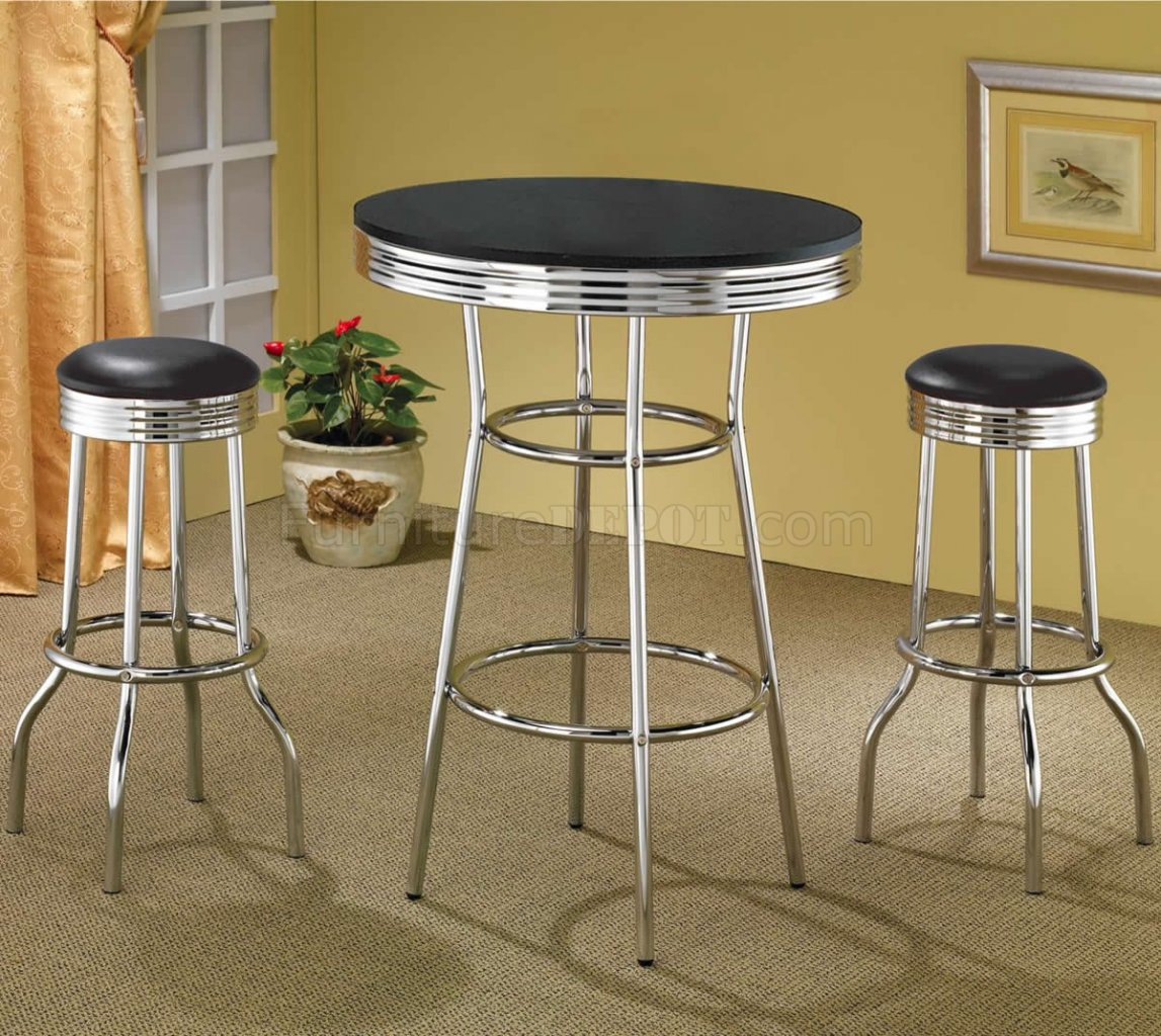 Black Bar Set: Black Table Top & Chrome Base Modern 3Pc Bar Set