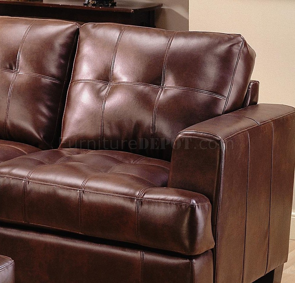 Samuel modern leather sectional sofa 500911 brown Baseball sofa