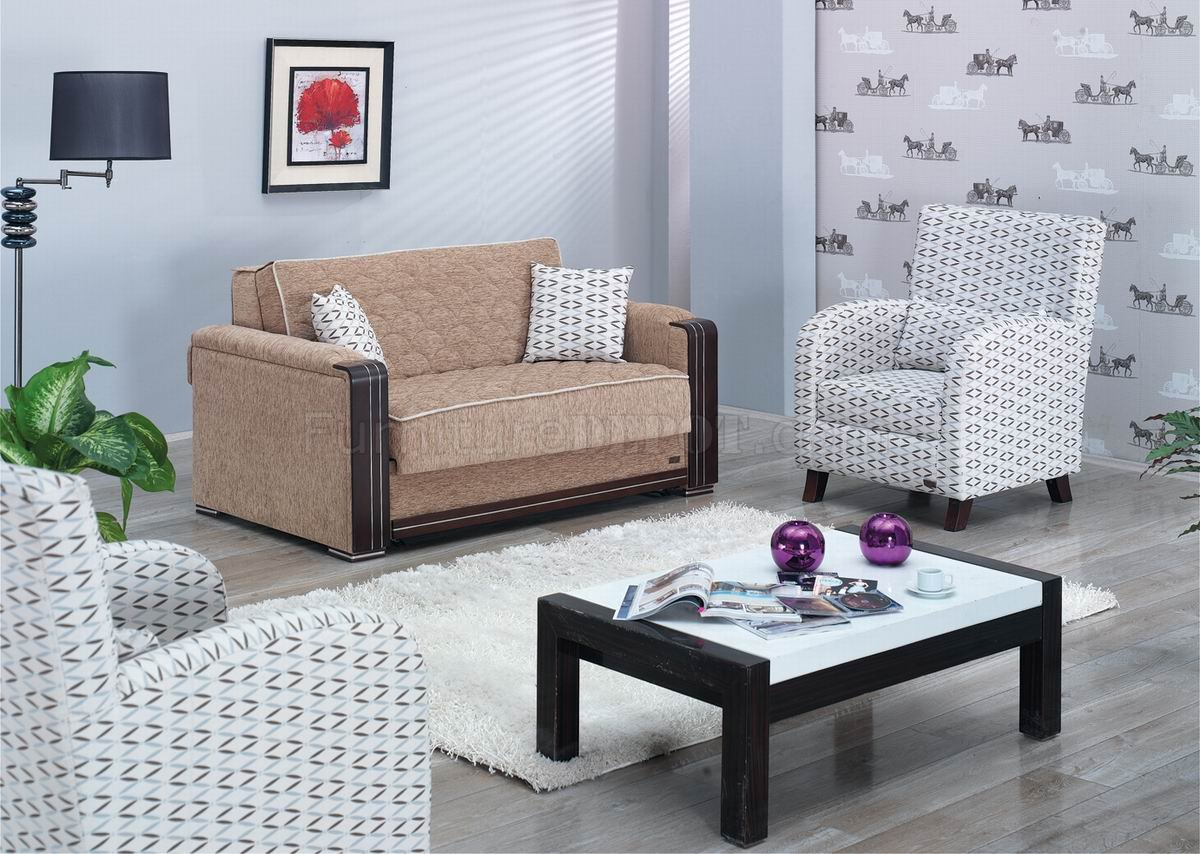 Denver Loveseat Bed In Beige Fabric W Optional Accent Chairs