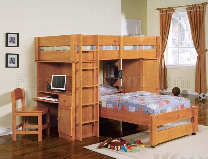 Magnificent Honey Oak Finish Kids Bunk Bed With Workstation Pdpeps Interior Chair Design Pdpepsorg