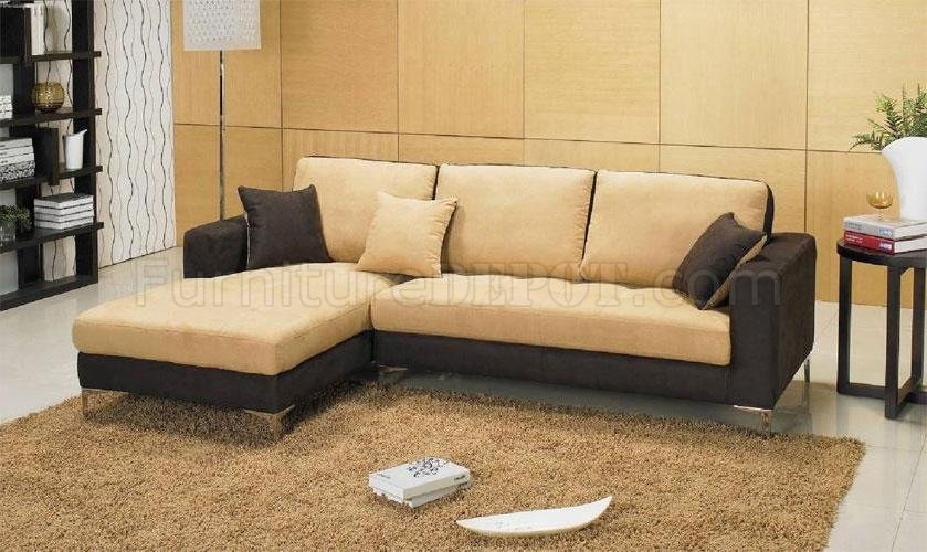 Two tone chocolate brown and beige microfiber sectional for Chocolate brown microfiber sectional sofa