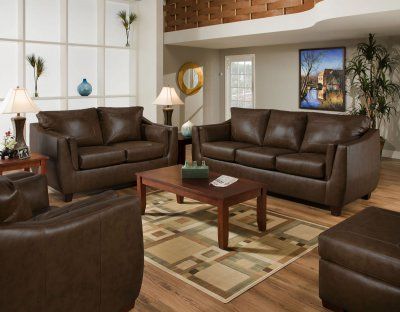 Leather Sofaloveseat on Brown Cordovan Bonded Leather Sofa   Loveseat Set W Options At