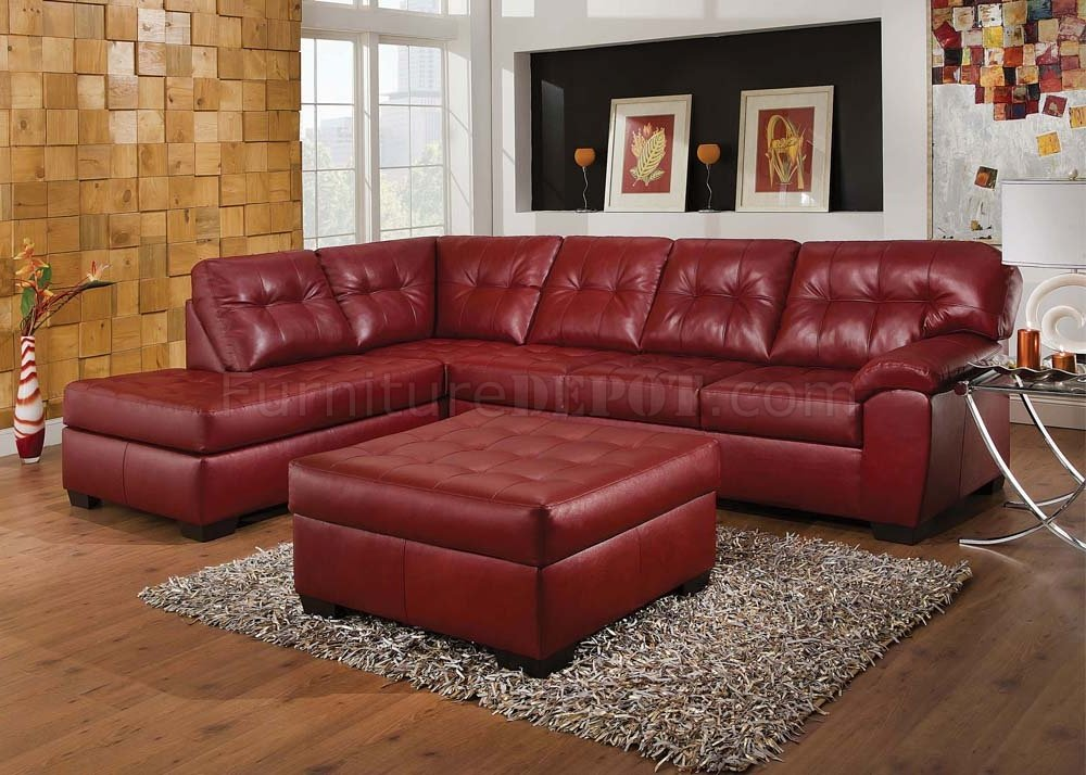 50440 Soho Sectional Sofa In Red Bonded Leather Match By Acme