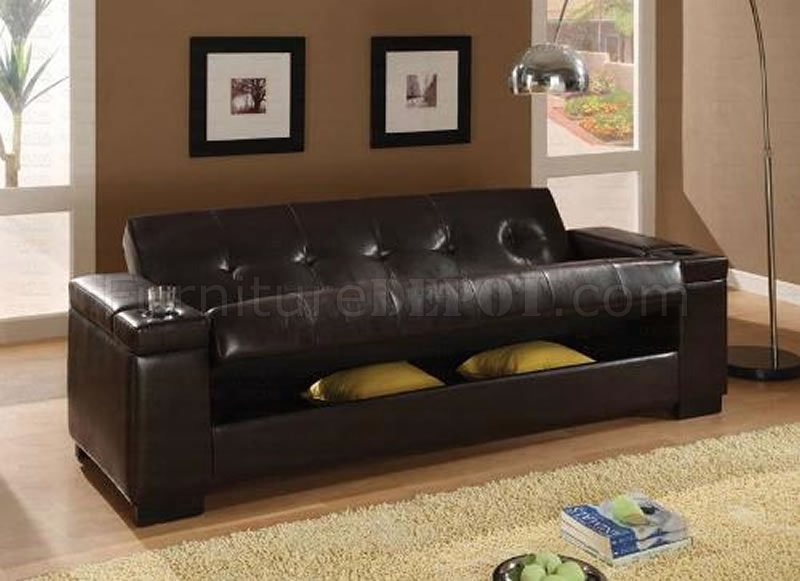 Dark Brown Vinyl Contemporary Sofa Bed W Hidden Storage