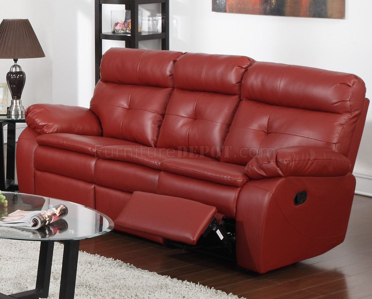 G570a Reclining Sofa Loveseat In Red Bonded Leather By Glory